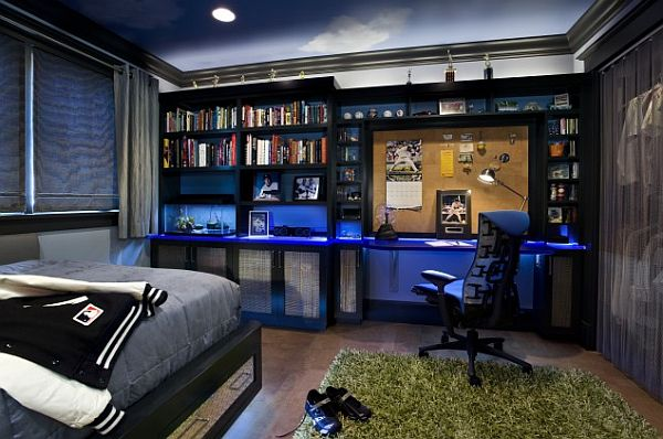 contemporary teens boy bedroom with beautiful bookcase & study desk