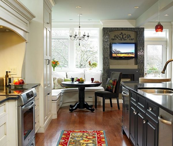 corner breakfast nook design idea – contemporary kitchen decor ...