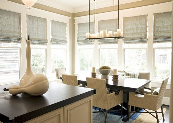 cream-colored-dining-room-with-roman-shades-for-sunblocking