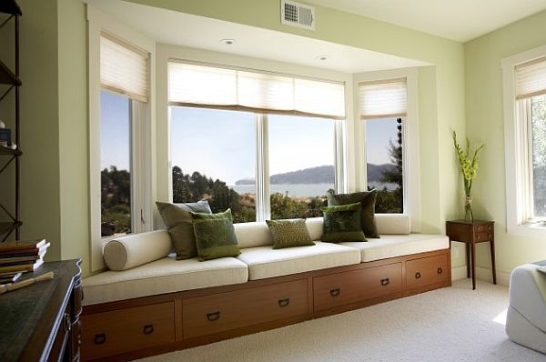 How to utilize the bay window space for Contemporary bay window designs