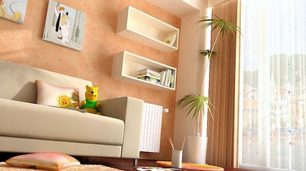 design camera tineret – box shelving and white leather couch
