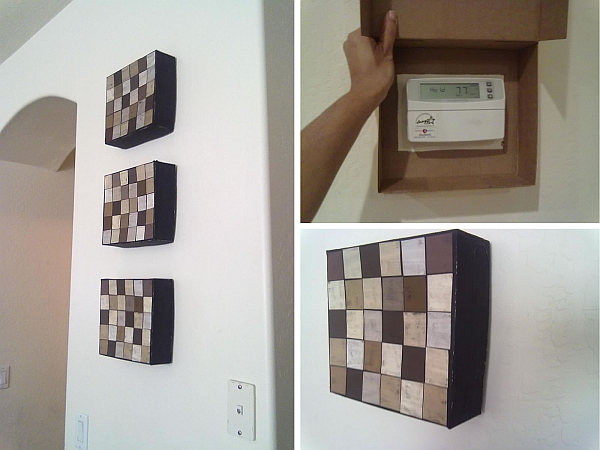diy wall canvas to hide thermostats