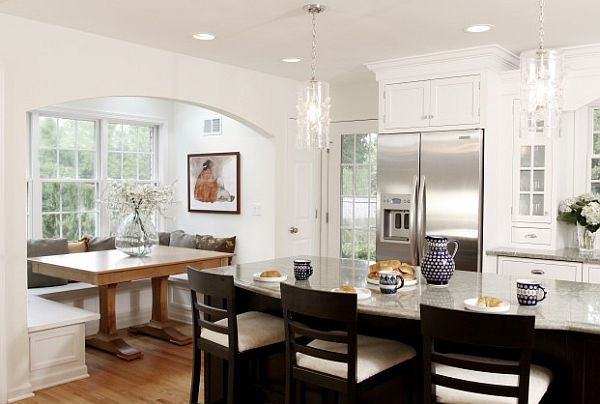 ecclectic kitchen furniture with traditional breakfast nook