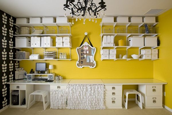 eclectic home office design with wall box shelves
