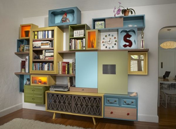 eclectic living room bookcase