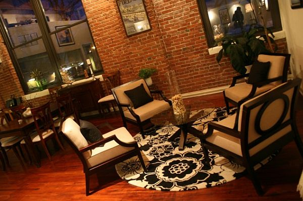 elegant living room with exposed brick walls