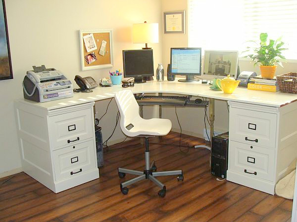 file cabinet DIY desk 18 DIY Desks to Enhance Your Home Office