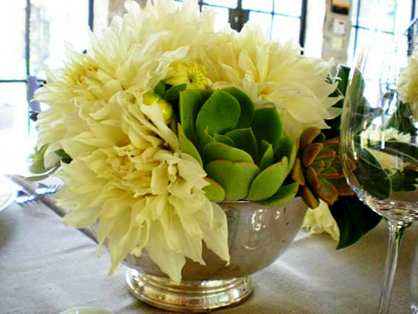 View In Gallery Dining Table Floral Centerpiece With Succulents