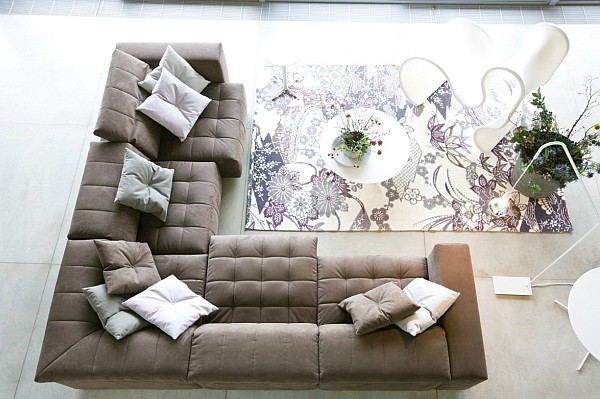 floral prints rug with L shape sofa How to Use Floral Prints Tastefully