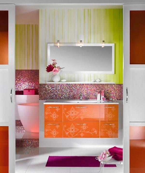 Girly bathroom design with orange themed furniture for Girly bathroom ideas