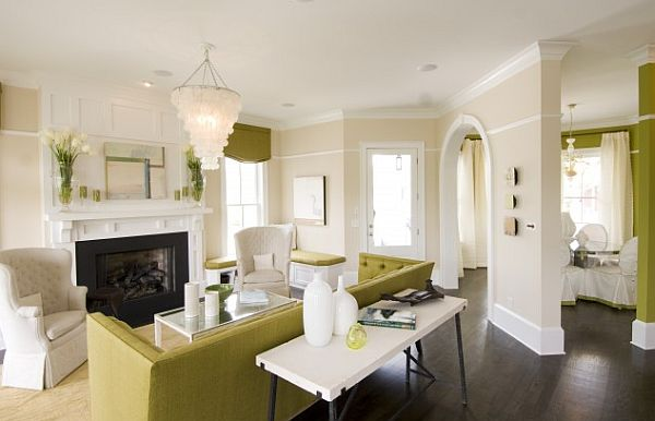 green and white contemporary living room with dark flooring