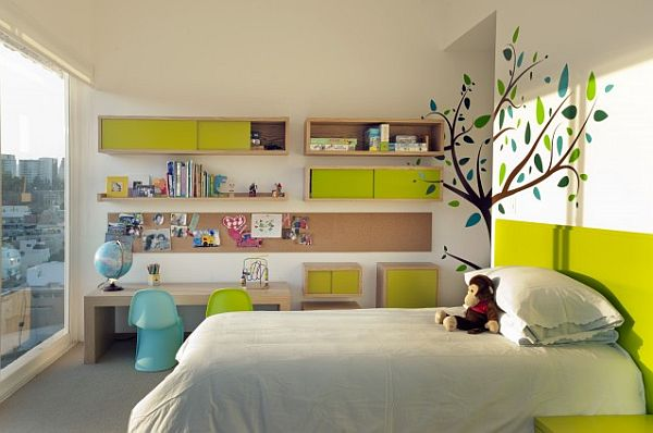 green and white kids bedroom with floral wallpaper Whimsical Decor Ideas for Kids Rooms