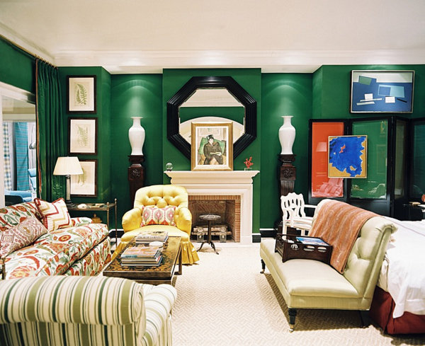 green living room Dazzling Jewel Toned Decor
