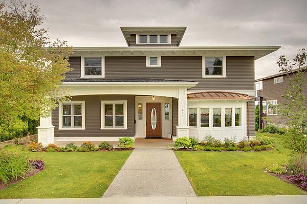 grey painted house exterior
