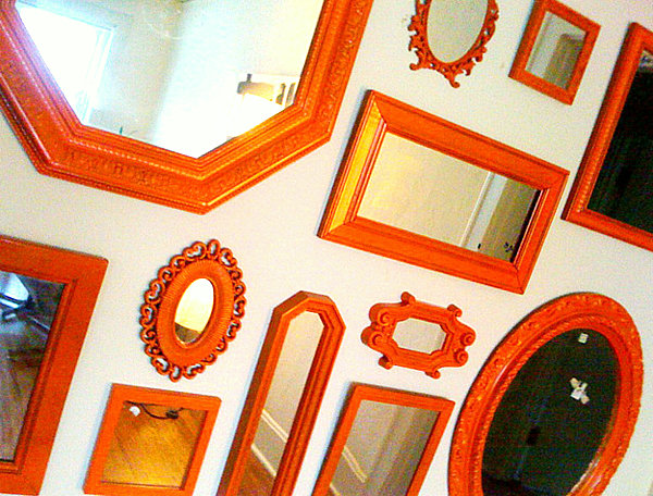 grouping-of-red-vintage-wall-mirrors