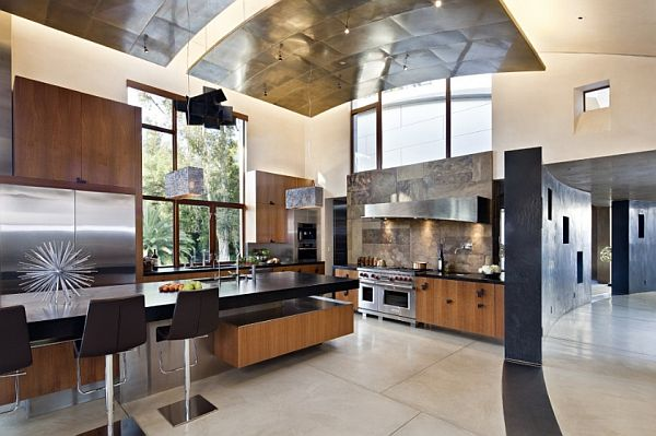 high ceiling contemporary kitchen with wooden furnishings Creative Ideas for High Ceilings