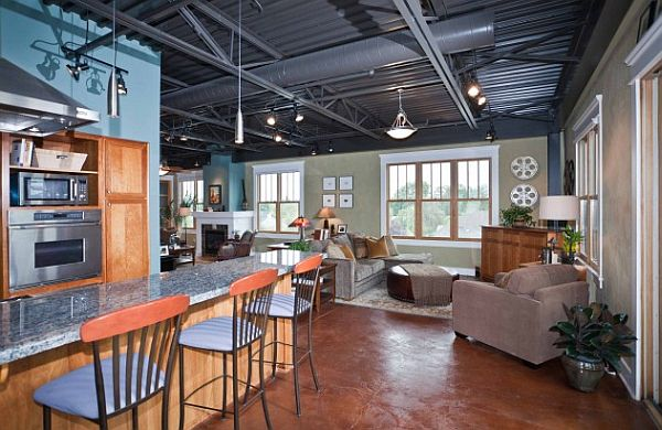 How to make an industrial loft feel like home for Industrial home designs