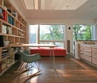 interior modern home office with large contemporary box shelves