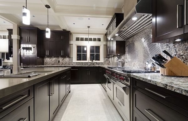 kitchen cabinets and highly modern backsplash