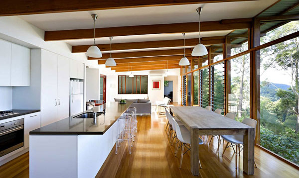 Contemporary australian home built using reclaimed wood for Dining room ideas australia