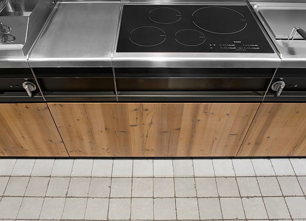 kitchen furniture details – stainless steel and wood