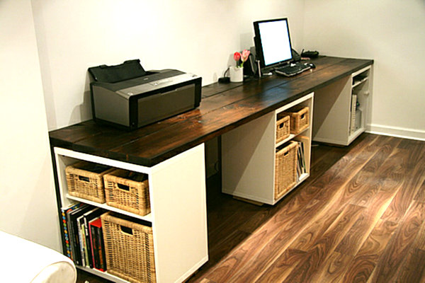 large DIY desk with storage shelves