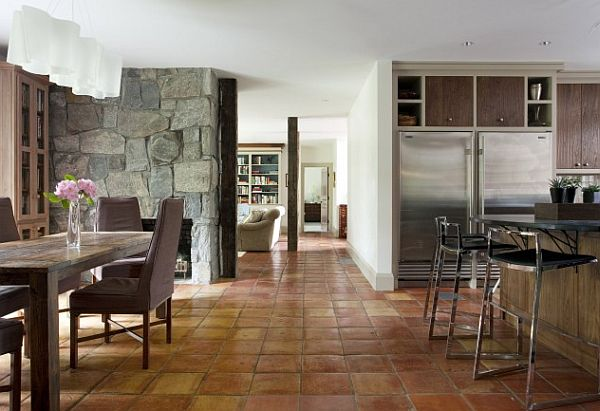 large fieldstone tiles for interior walls