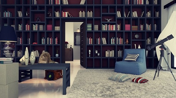 large home library with reading corner cozy chair