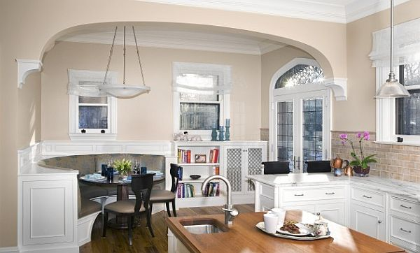 large kitchen design with fancy breakfast nook