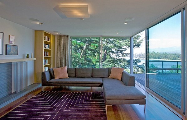 living room with floor to ceiling sliding glass doors