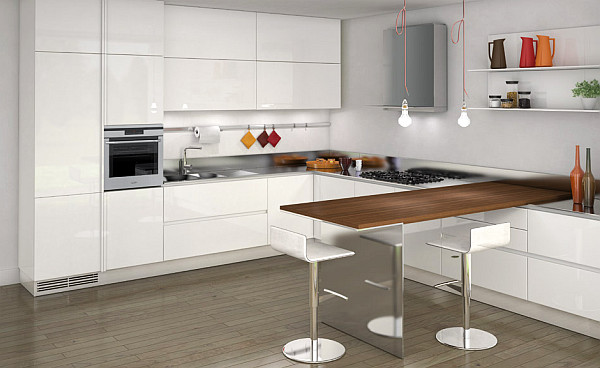 Luxurious white kitchen design with dining table and big shelves