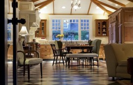 luxury dining room with checkered pattern flooring