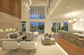 luxury living room with high ceiling