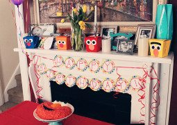 mantle decor - birthday decorations