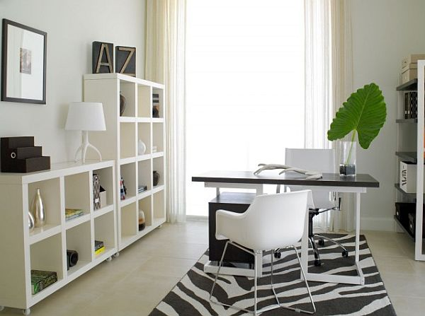 miami modern home office with white box shelves bookcase