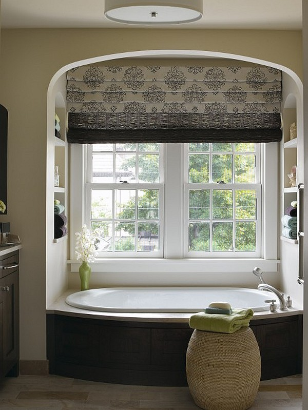 Block the sun with sophisticated roman shades for Bathroom window treatments