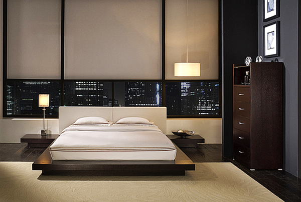 modern bedroom decor, with sleek furniture and bautiful views