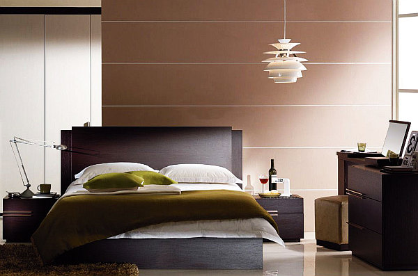 modern bedroom with contemporary lights fixtures