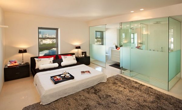 Modern Bedroom With Ensuite Bathroom With Frosting Glass Walls For