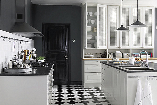 black and white kitchen floor tiles - wood floors