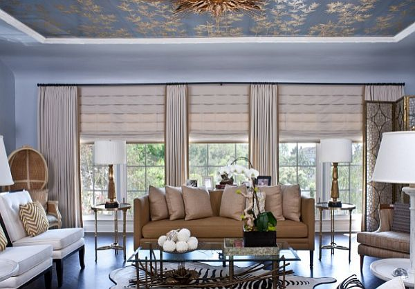 Block the sun with sophisticated roman shades for Living room blinds