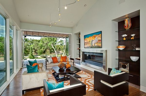 modern colorful living room with spanish oak furniture