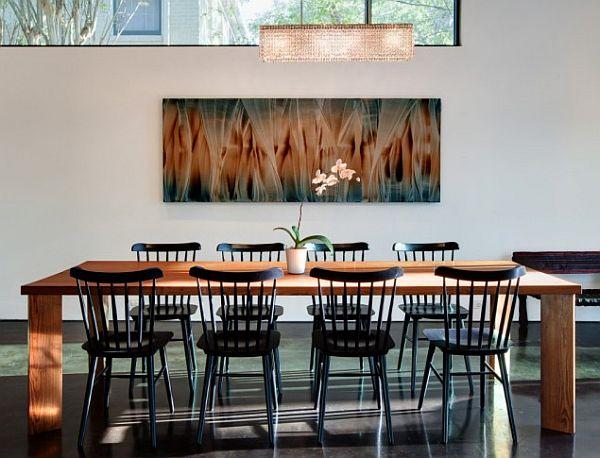 modern dining room with minimalist lighting lamp