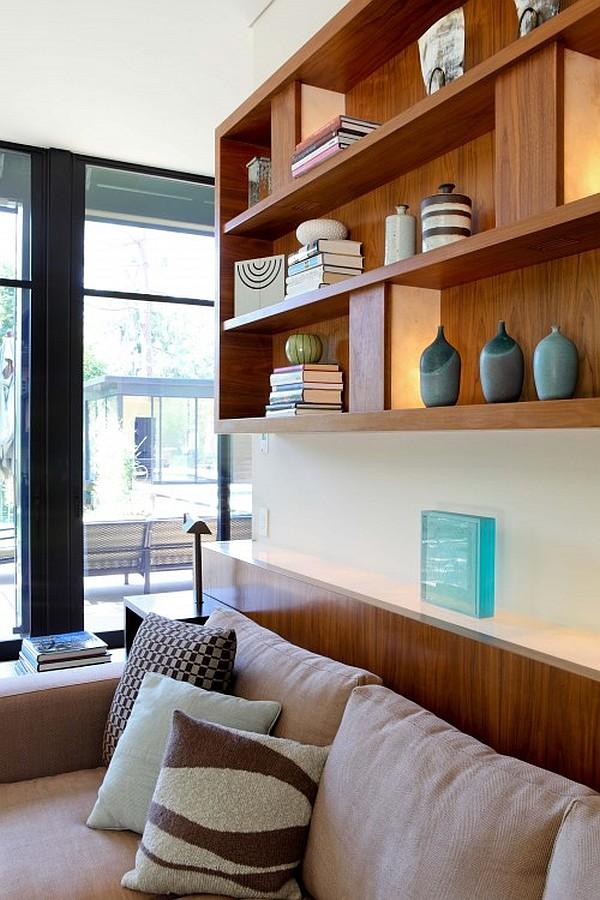 modern family room decor with box shelves