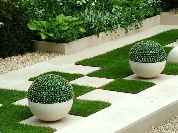 modern garden tile and potted plants