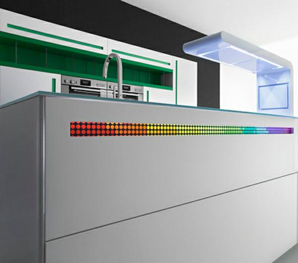 modern kitchen rainbow light