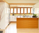 Beautiful kitchen decor with large island and glossy furniture