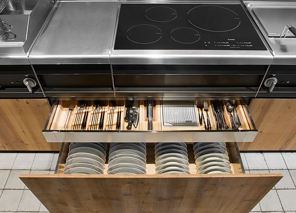 modern kitchen with wooden sliding shelves & stainless furnishings