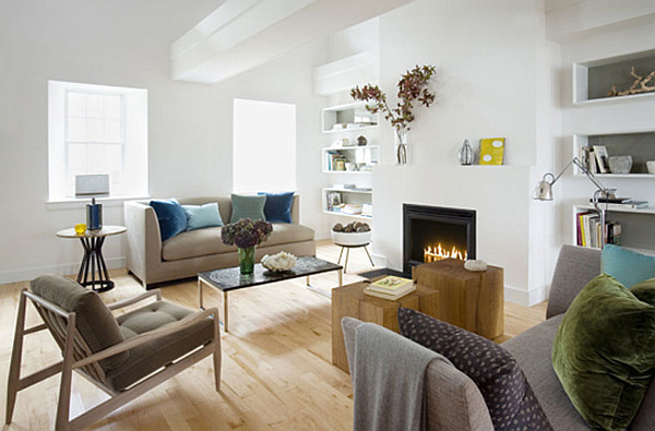 modern living room with white walls and box shelves