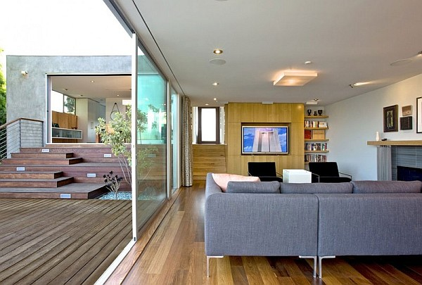 modern living room with wooden decked terrace